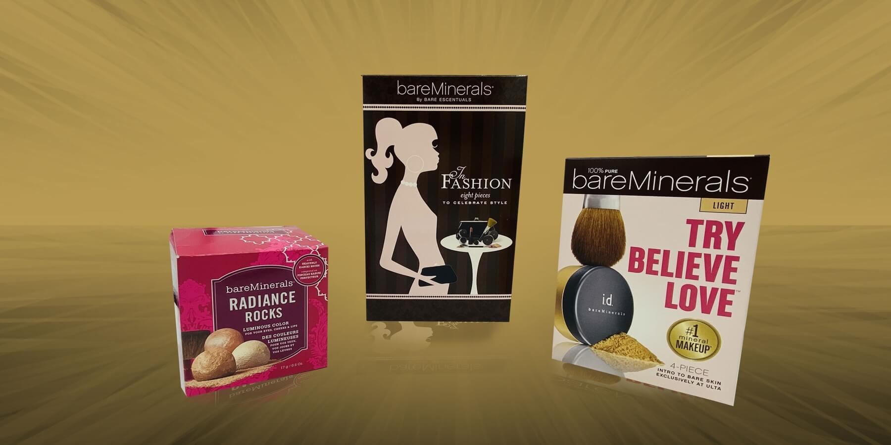 Spectrum Packaging Bare Escentuals 3D Packaging on Gold Background