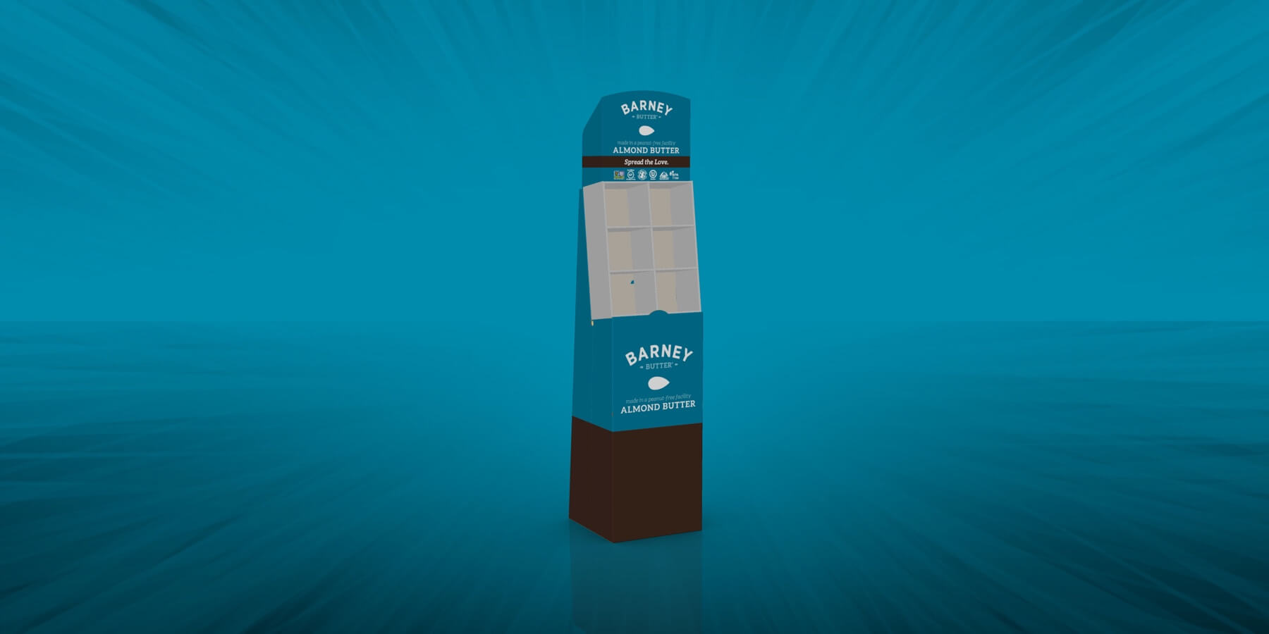 Spectrum Packaging Barney 3D Packaging on Teal Background