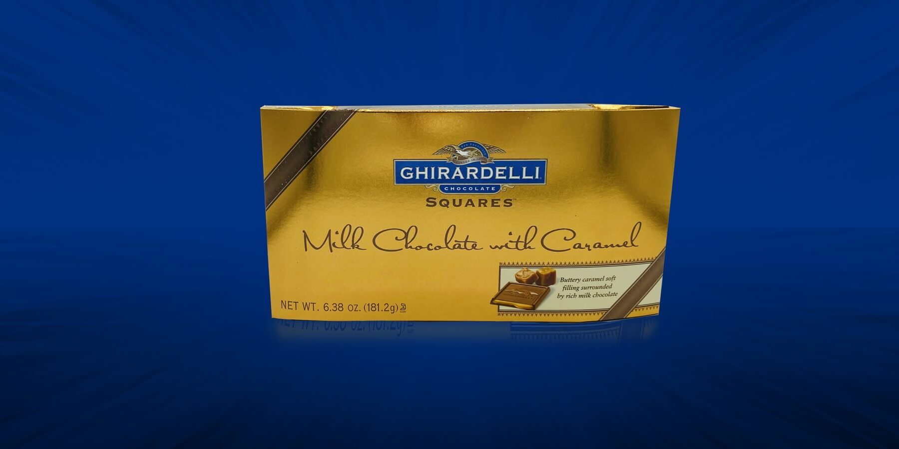 Spectrum Packaging Ghirardelli 3D Packaging on Blue Background