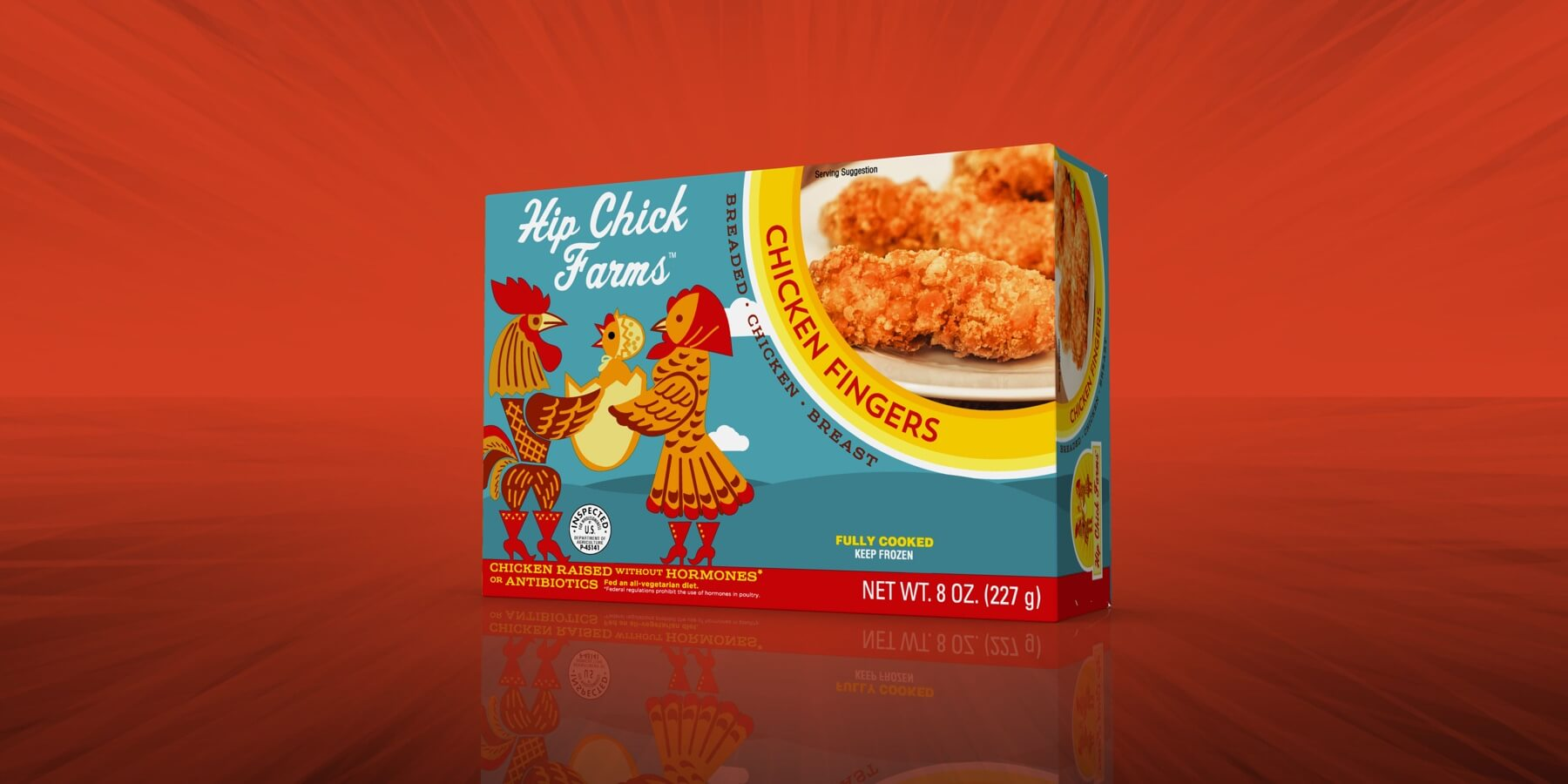 Spectrum Packaging Hip Chick 3D Packaging on Red Background